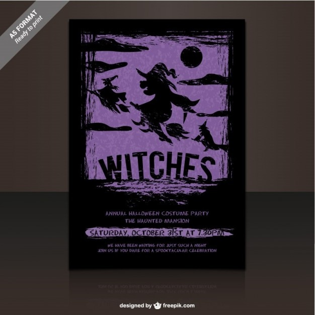 Witches Party Flyer Template Vector