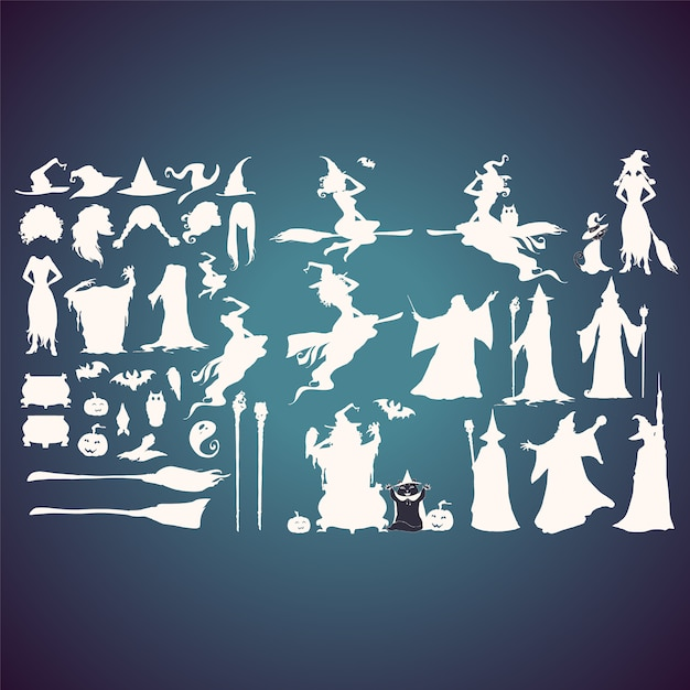 Witches silhouettes collection Free Vector
