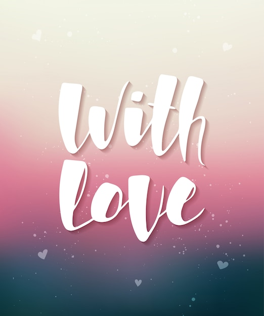 With love on blurred background Premium Vector