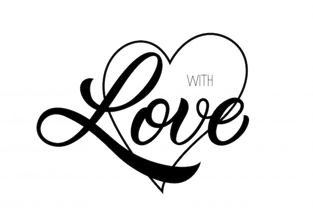 With love lettering Premium Vector