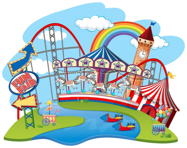 With rides at themepark Free Vector
