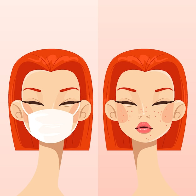 With or without mask illustration Free Vector