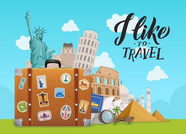 With worldwide sights dropping from suitcase on sky Premium Vector