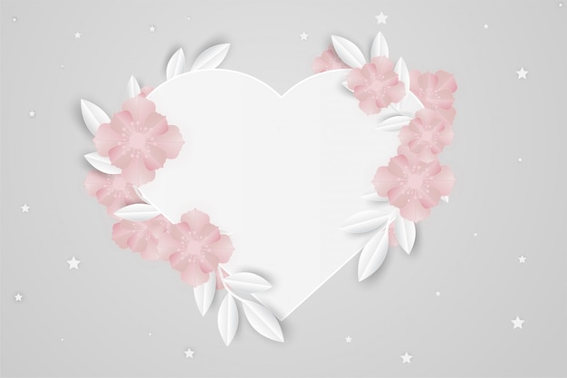 Withe heart frame paper flower love Premium Vector