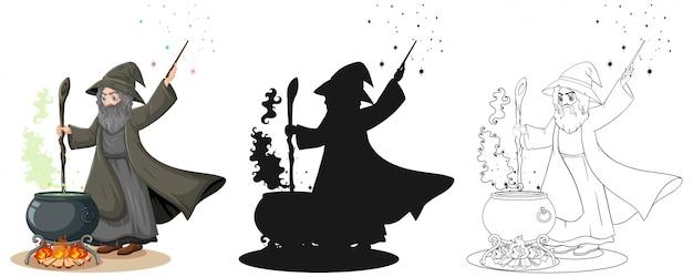 Stregone a colori e struttura e personaggio dei cartoni animati della siluetta isolato su fondo bianco Vettore gratuito