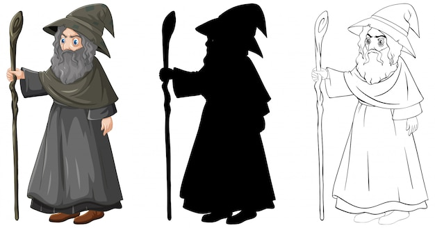 Wizard in color and outline and silhouette cartoon character isolated on white background Free Vector
