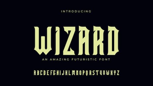 Wizard Futuristic 폰트 프리미엄 벡터