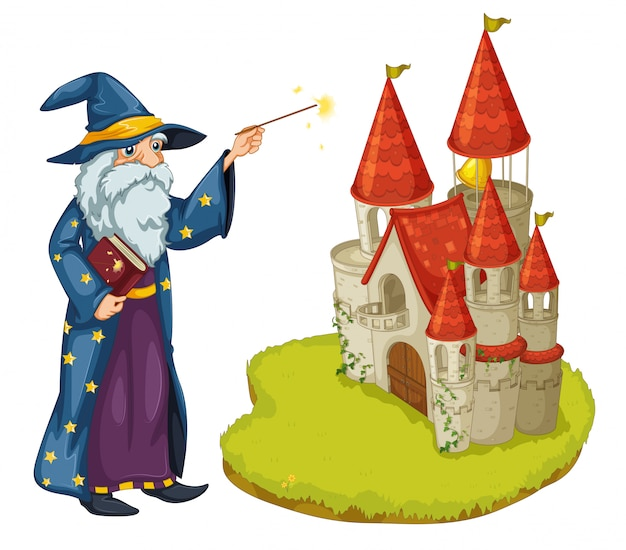 A wizard holding a book and a magic wand in front of the castle Free Vector