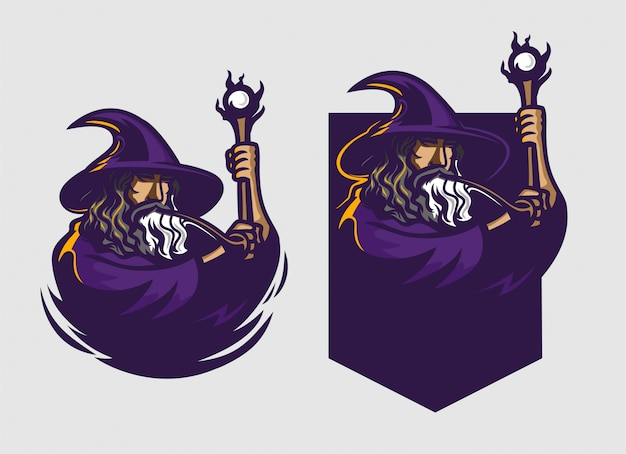 Wizard holding staff esport gaming mascot logo template Premium Vector