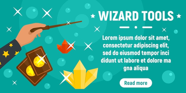 Wizard tools concept banner template, flat style Premium Vector