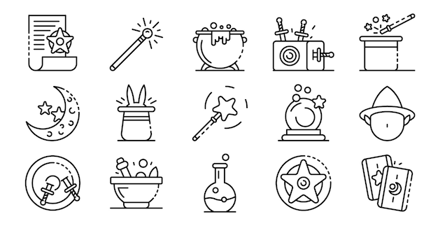 Wizard tools icons set, outline style Premium Vector
