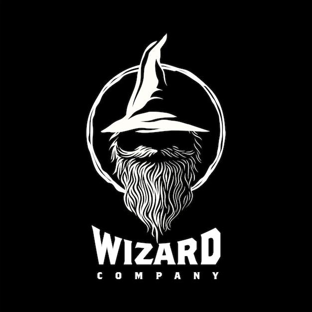 마법사 흑 마법사 로고 디자인 영감 프리미엄 벡터