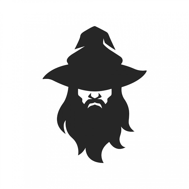 Wizard warlock man face with hat beard Premium Vector