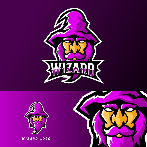 Wizard witch sport or esport gaming mascot logo template Premium Vector