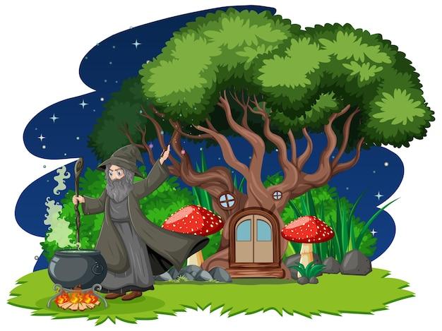 Mago con pentola magica nera e stile cartone animato casa sull'albero sulla foresta oscura Vettore gratuito
