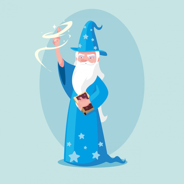 Wizard with hat of fairytale avatar character Premium Vector