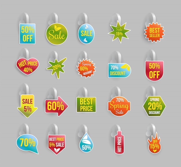Wobbler set, labels or badges with discounts and offers Free Vector