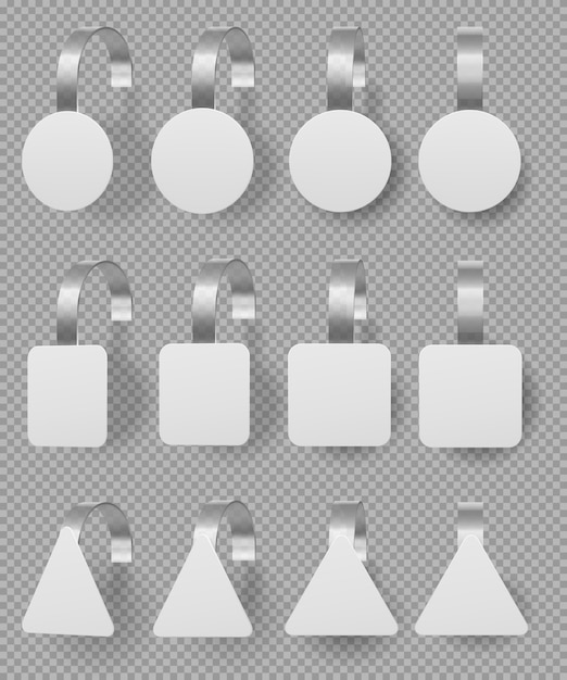Wobblers mockup set. blank white 3d price tags Free Vector