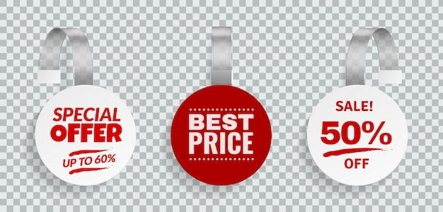 Wobblers for sale. discount color sign for advertising design of strips hanging wobbler template in store vector price labels set Premium Vector