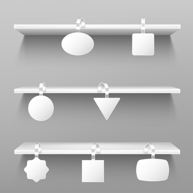 Wobblers on wooden shelves. blank price tags. Free Vector