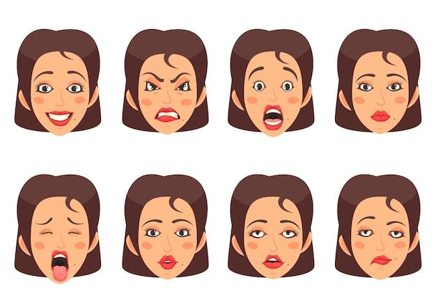 Woen facial gestures set Free Vector