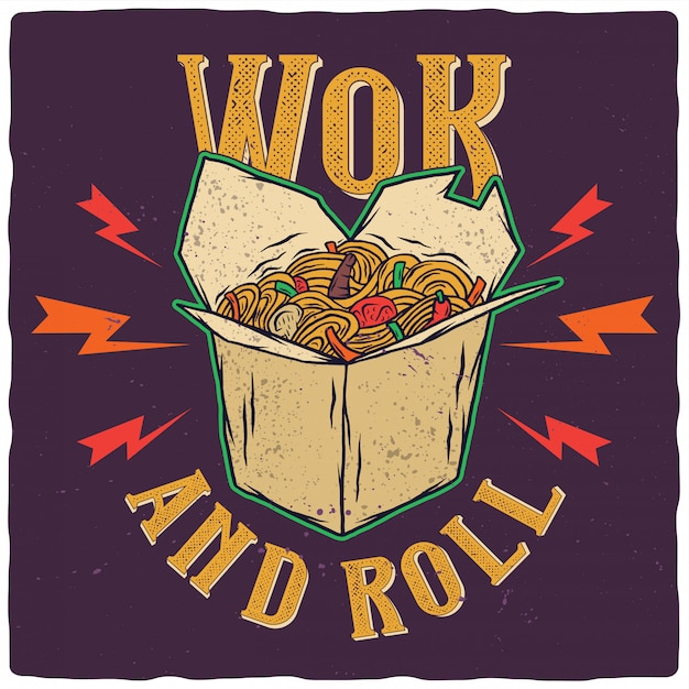 Wok in the box awesome illustration Premium Vector