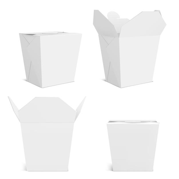 鍋のモックアップ、ブランクの持ち帰り用食品容器。中華料理、麺類、ファーストフードの正面と角の景色を望む空のバッグ。白い背景で隔離の現実的な3dテンプレートを閉じて開く 無料ベクター