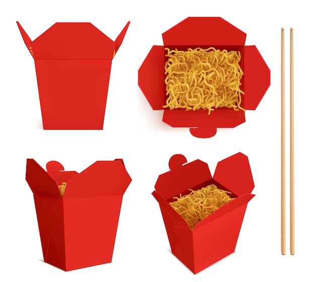Wok box with noodles and sticks Free Vector