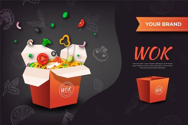Annuncio di cibo per noodles wok Vettore gratuito