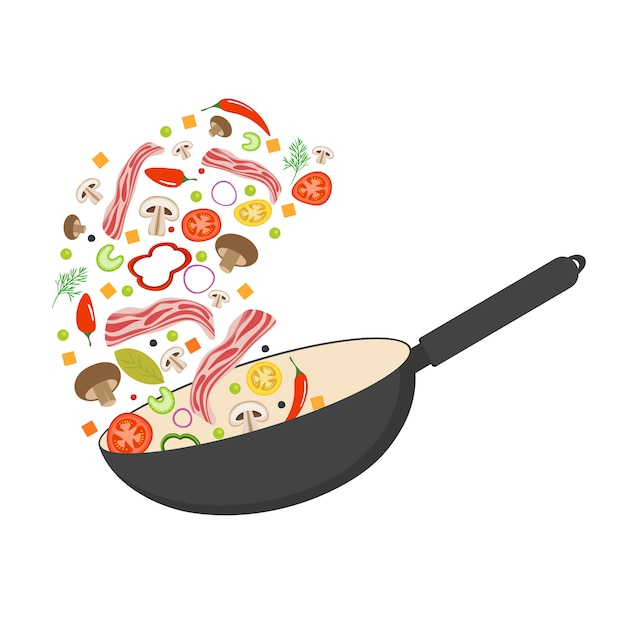 Wok pan, tomato, paprika, pepper, mushroom and bacon. asian food. flying vegetables with pork bacon. Premium Vector