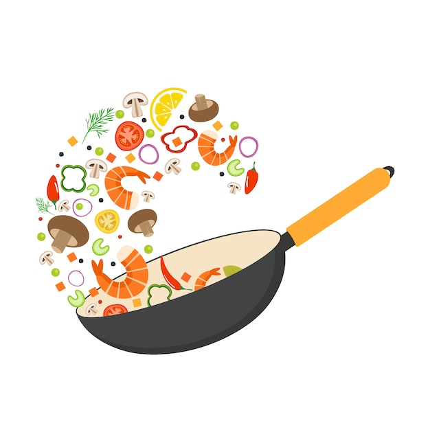 Wok pan, tomato, paprika, pepper, mushroom, shrimp. asian food. flying vegetables with seafood. Premium Vector
