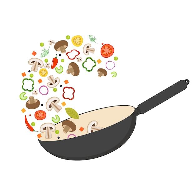 Wok pan, tomato, paprika, pepper, shiitake mushroom and carrots. asian food. fresh flying vegetables. Premium Vector