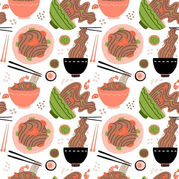 Wok with shrimps and soba noodles. traditional asian food. chinese, japanese cuisine. seamless pattern with noodles in bowls. Premium Vector
