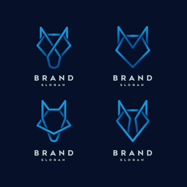 Wolf abstract line logo template Premium Vector