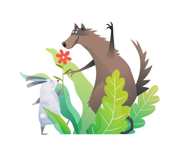 緑の森の葉に花を持つオオカミとウサギの友達。 Premiumベクター