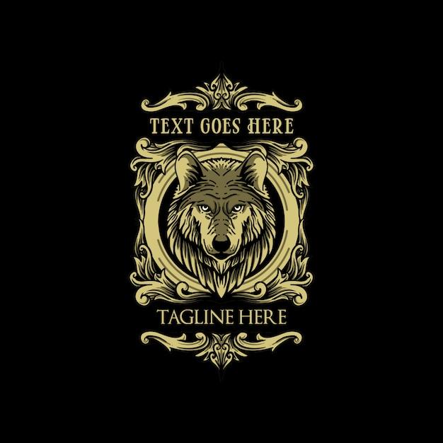 Wolf classic vintage logo luxury Premium Vector