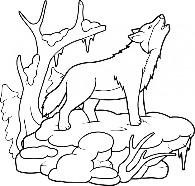 Premium Vector Wolf Coloring Book