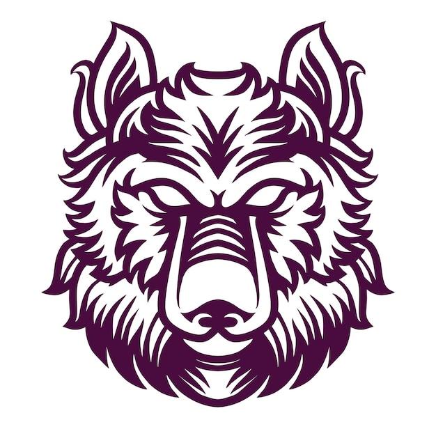 シャツデザインのオオカミの詳細図 Premiumベクター