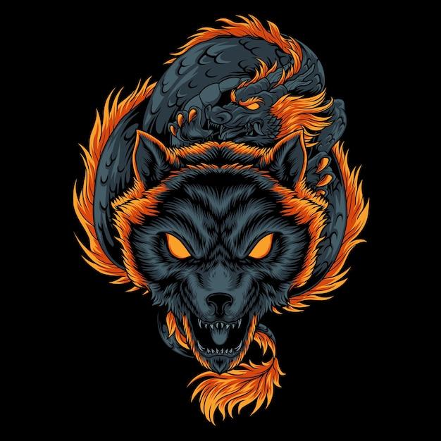Иллюстрация волка дракона Premium векторы