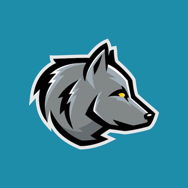 Wolf e-sport gaming logo template Premium Vector