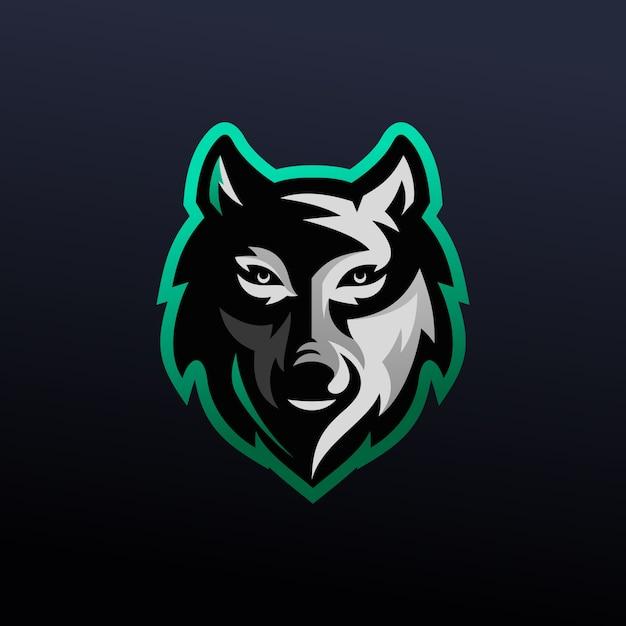 Дизайн логотипа wolf e-sports Premium векторы