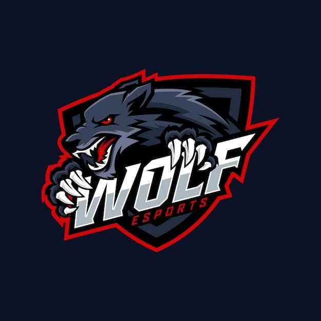 オオカミのeスポーツのロゴデザイン Premiumベクター