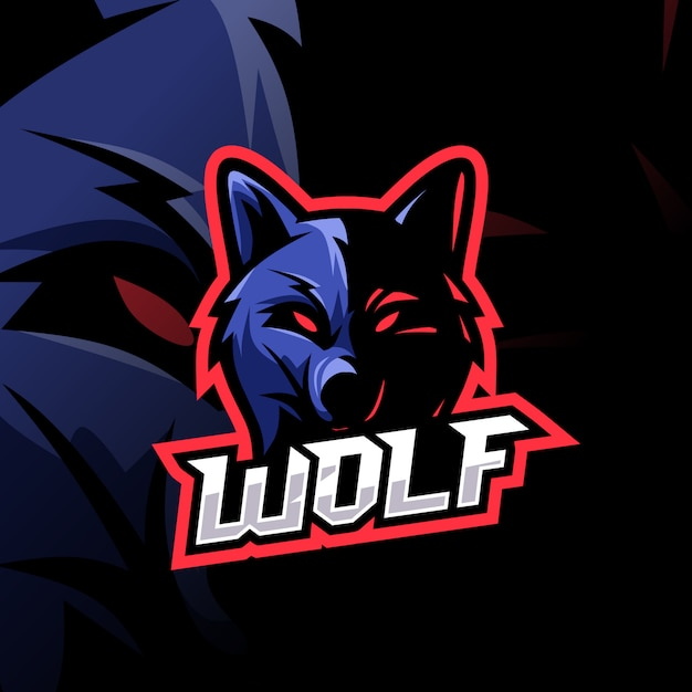 Wolf esport logo awesome Premium Vector