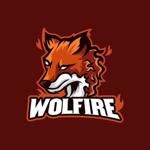 Wolf fire esports logo mascot illustration Premium Vector
