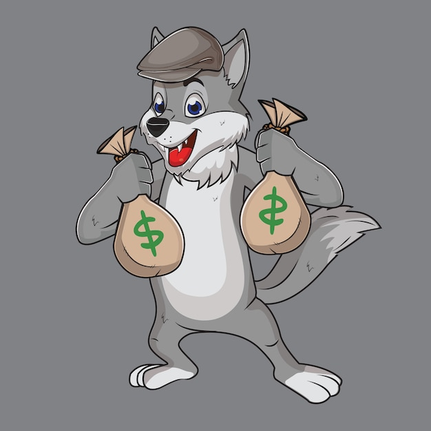 Wolf gray ashes the funny thief Premium Vector