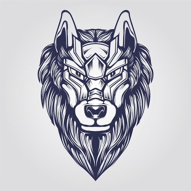 Wolf Head Abstract Ornamental Line Art Vector Premium Download
