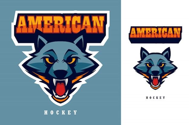 Wolf head american hockey esports logo Premium Vector
