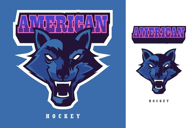 オオカミの頭アメリカンホッケーロゴマスコットテンプレート Premiumベクター