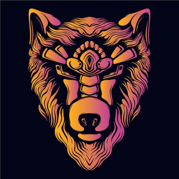 Wolf head decorative eyes artwork illustration retro neon color Premium Vector