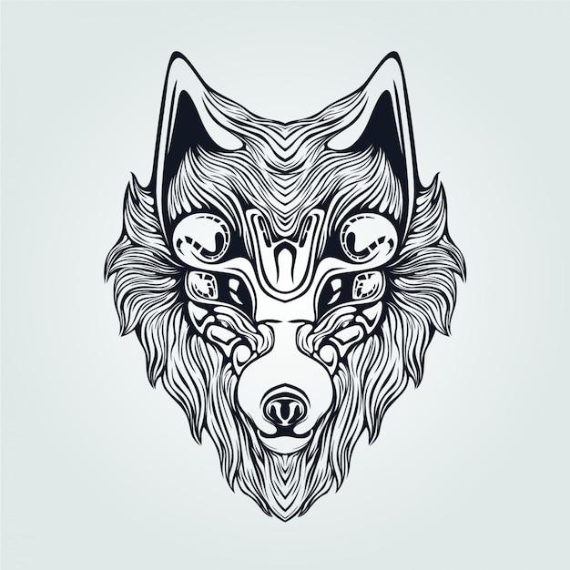 Line Art Wolf Tattoo: Wolf Head Decorative Face Line Art For Tattoo Vector